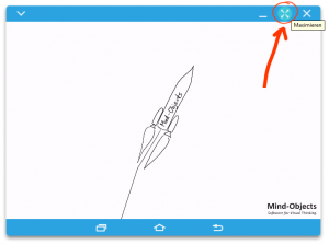 Use the button in the upper right to go to fullscreen with Mind-Objects in SideSync